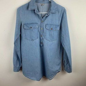 Charlotte Russe Womans Chambray Tunic Shirt Size Small Button Up Sleeve. Button